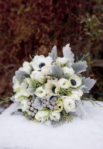 Winter-wedding-bouquet-Blue-Gray-and-Silver-Anemone-Bouquet